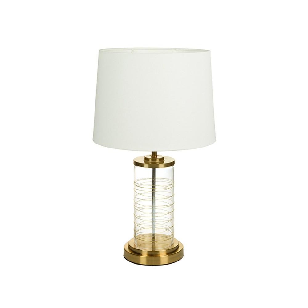 Biela stolová lampa so základňou v zlatej farbe Santiago Pons Earl