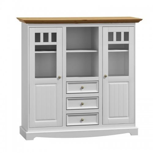 Biely nábytok Priestranná vitrína Belluno Ellegante 2.2.3, dekor biela / dub, masív, borovica