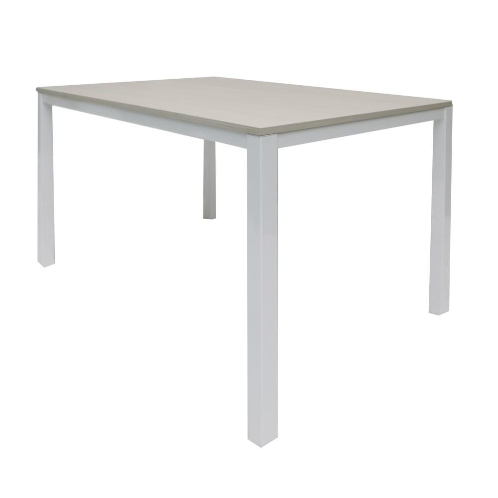 Biely rozkladací jedálenský stôl s doskou vo farbe smrekovcového dreva Esidra Angel