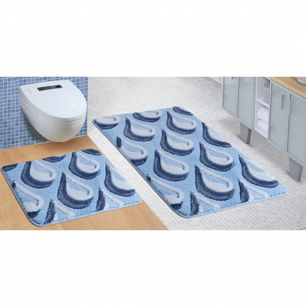 Bellatex Sada kúpeľňových predložiek Ultra Kvapka modrá, 60 x 100 cm, 60 x 50 cm