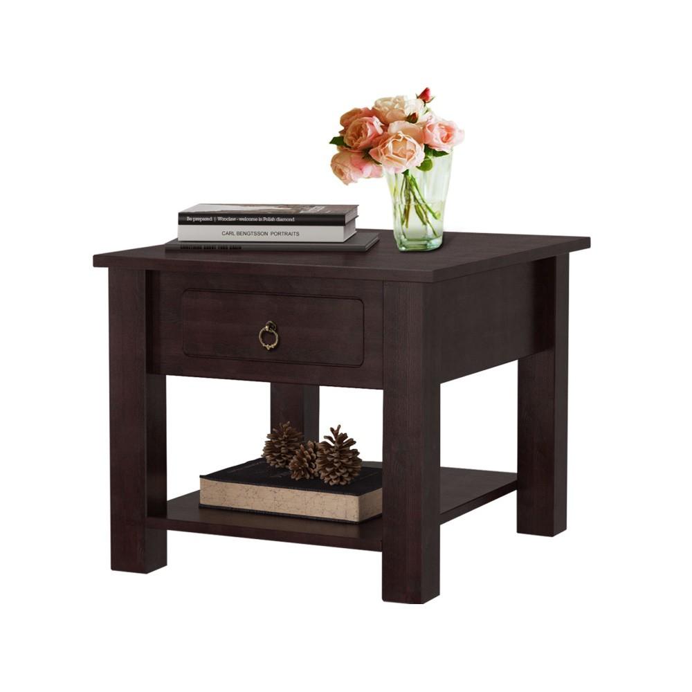 Tmavohnedý konferenčný stolík z borovicového dreva Støraa Klein