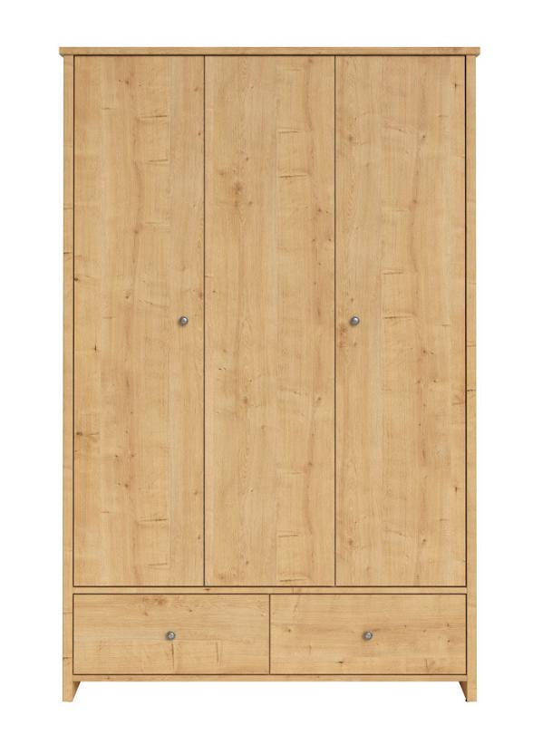 Šatníková skriňa Porto SZF3D2S   Farba: dub prírodný burlington