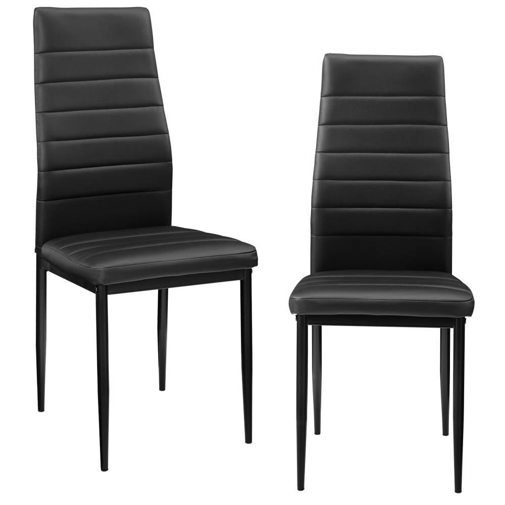 [en.casa]® Čalúnená koženková stolička - 2 ks sada - čierna