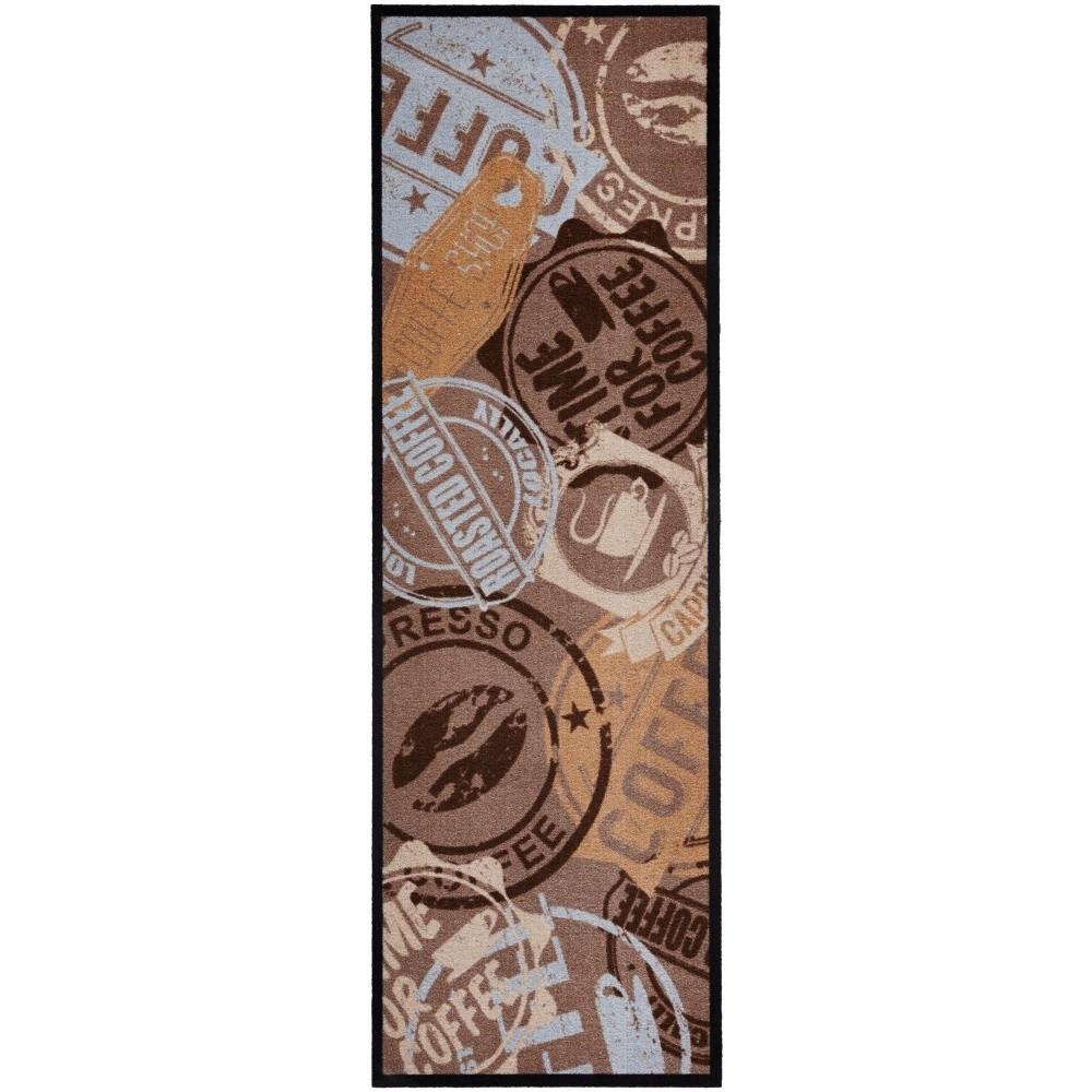 Hnedý kuchynský koberec Hanse Home Coffee Stamp, 50x150cm
