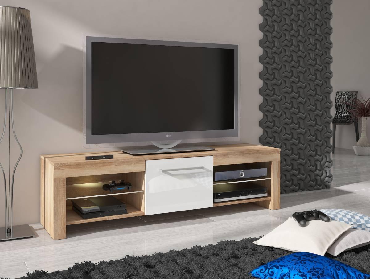 TV stolík/skrinka Flex (dub sonoma svetlý + lesk biely)