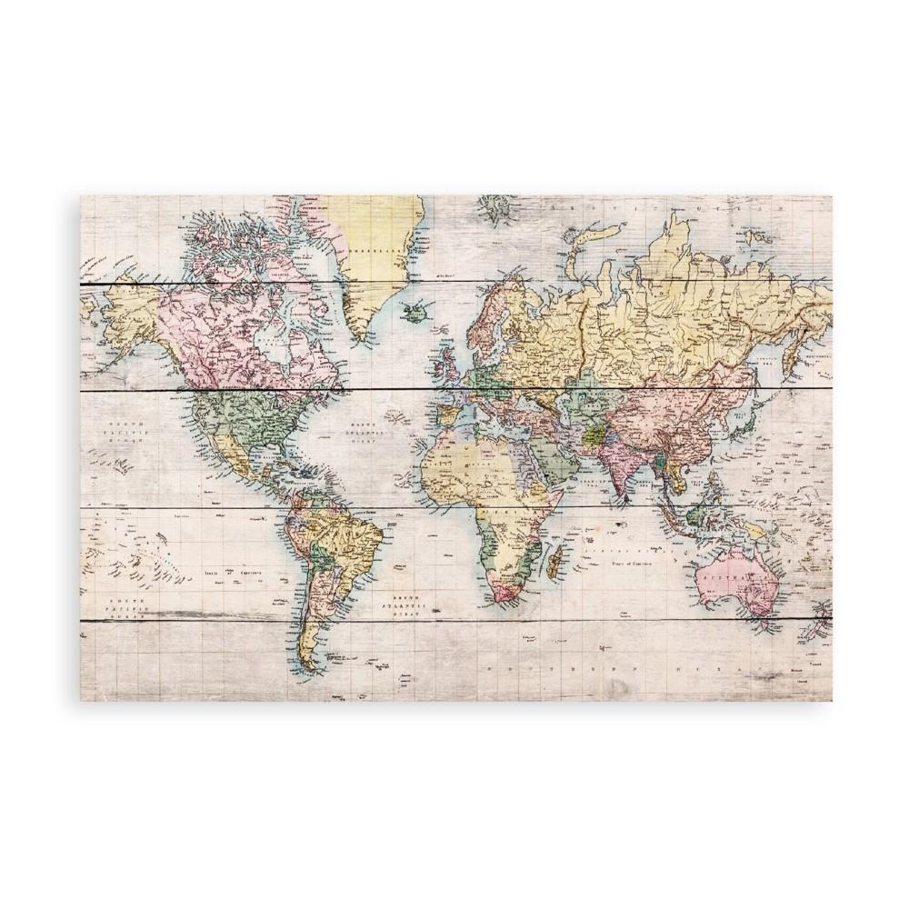 Drevená ceduľa Really Nice Things Worldmap, 40x60cm