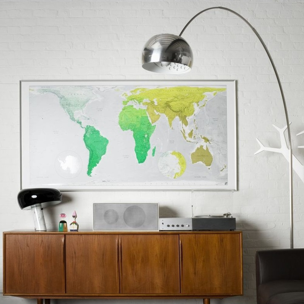 Mapa sveta Huge Future Map, 196×100cm, zelená