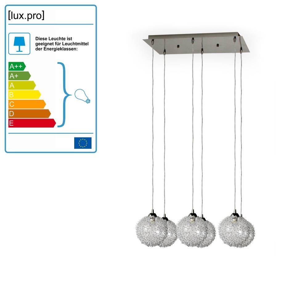 [lux.pro]® Dekoratívna dizajnová design závesná lampa / stropná lampa - chrómovo-strieborná (6 x G9)