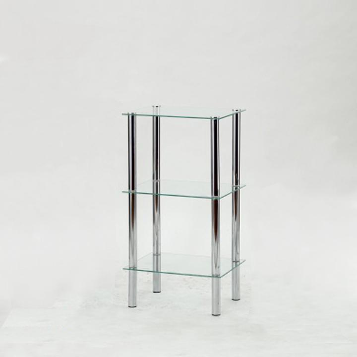 Regál, s troma poličkami, chróm + číre sklo, FREDDY