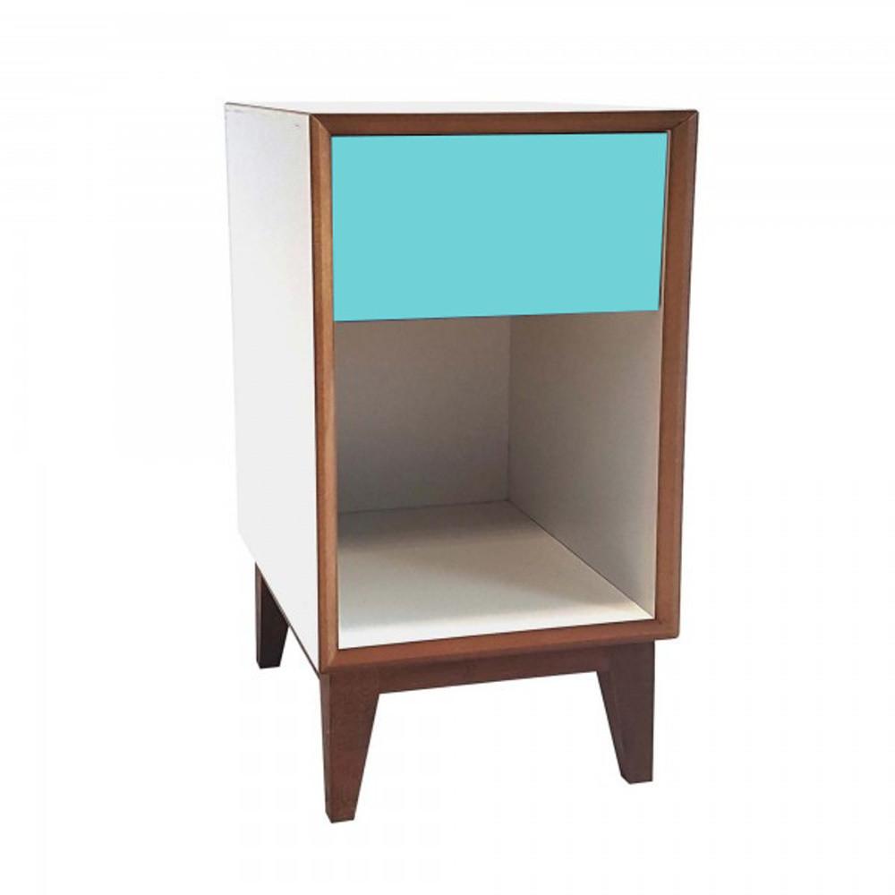 Veľký nočný stolík s bielym rámom a tmavotyrkysovou zásuvkou Ragaba PIX