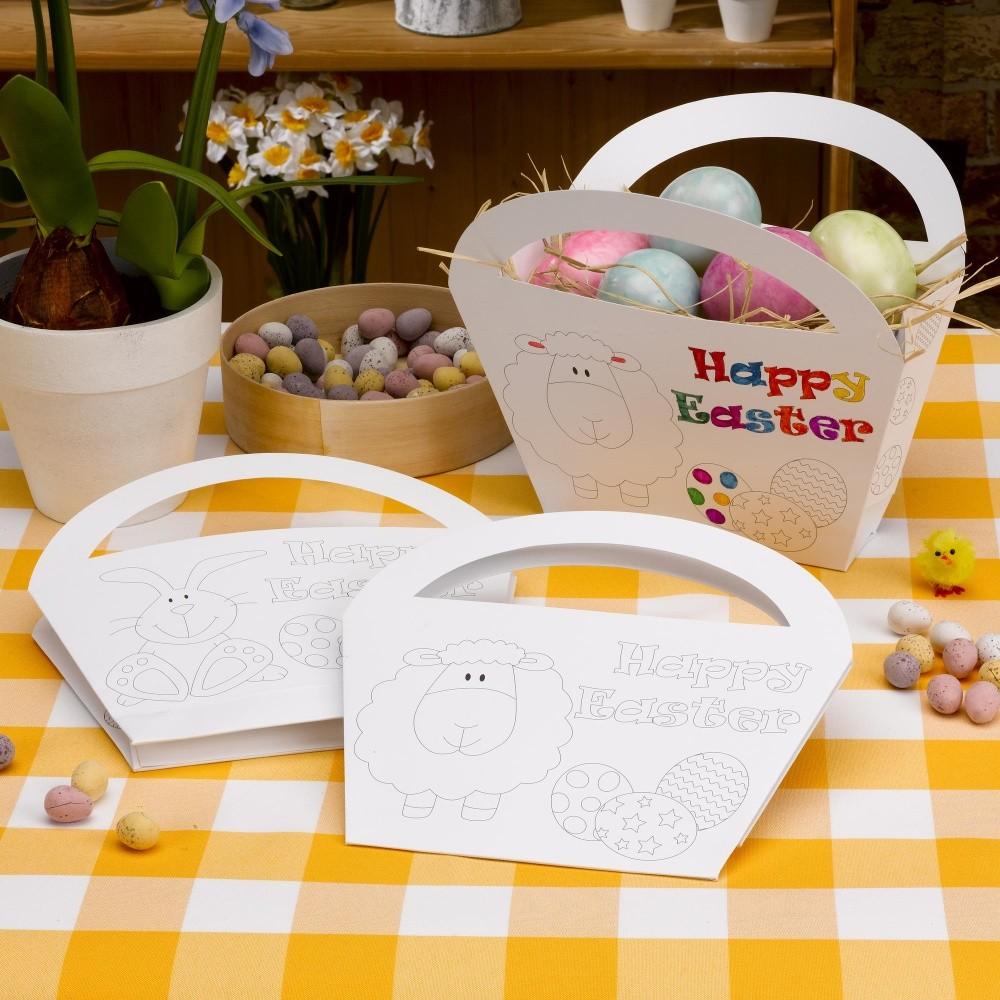 Sada 4 papierových košíkov na vymaľovanie Neviti Easter Craft