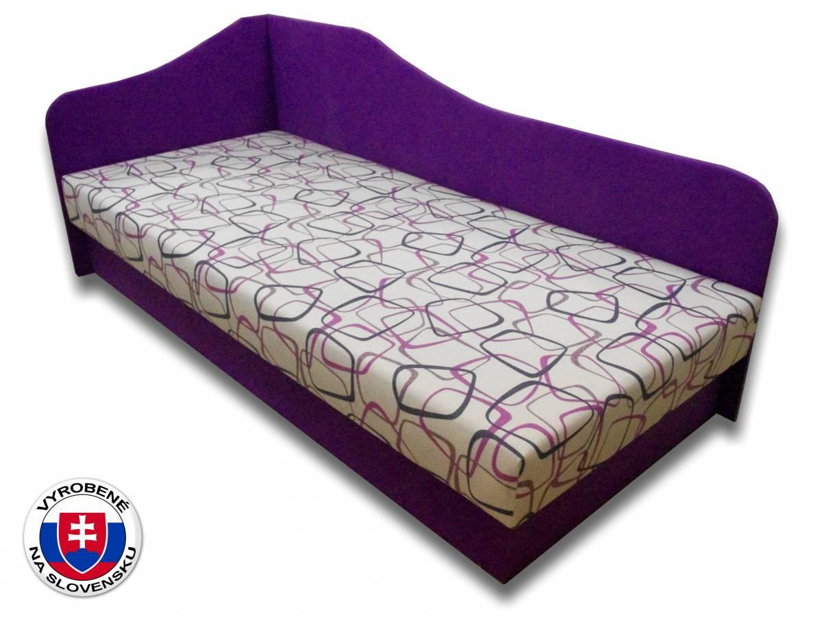 Jednolôžková posteľ (váľanda) 80 cm Lux 87 (Fialová 49 + Dodo 1058) (L)