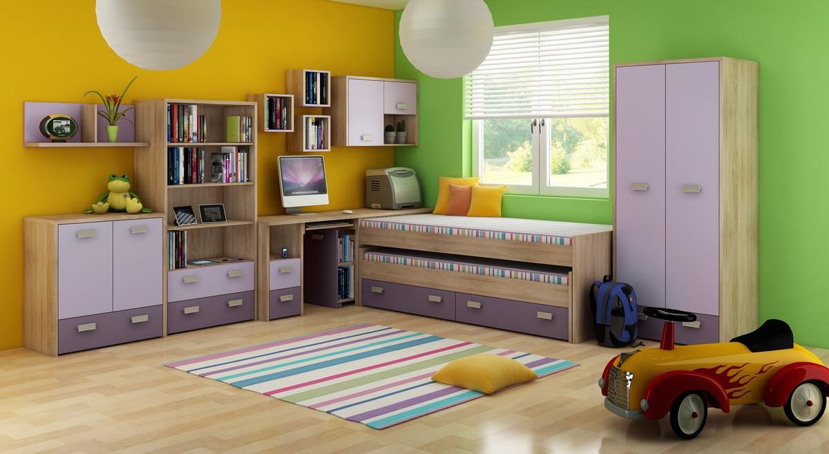 Detská izba Kitty 1 Sonoma svetlá + fialová