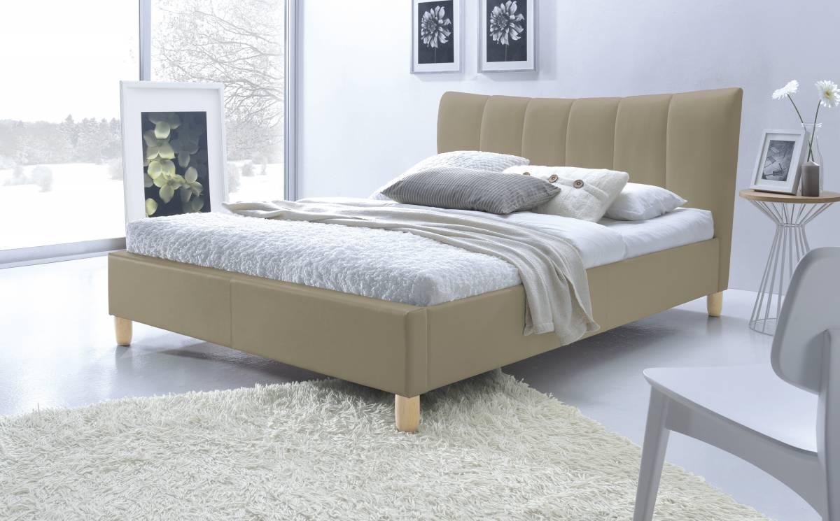 Manželská posteľ 160 cm Sandy (béžová) (s roštom)