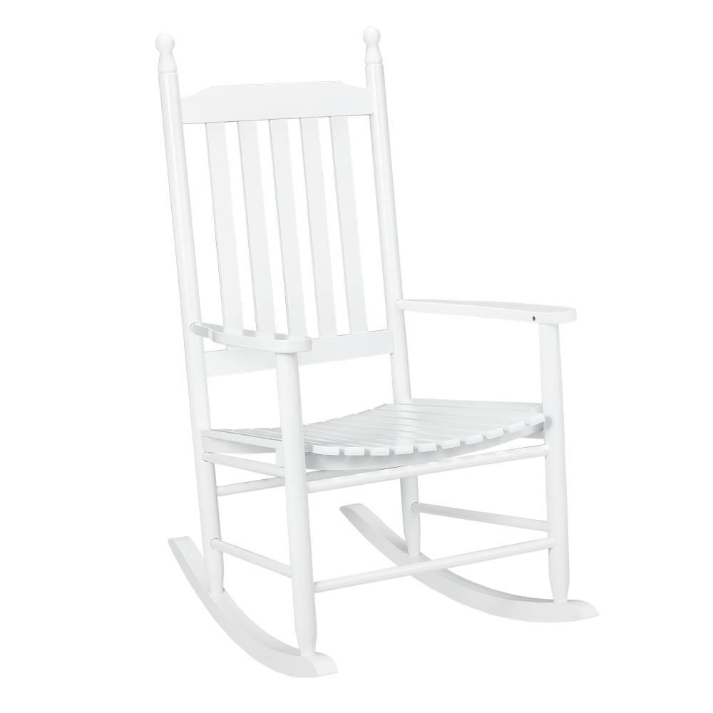 [casa.pro]® Pohodlná drevená hojdacia stolička - 115 x 62 x 84 cm - biela