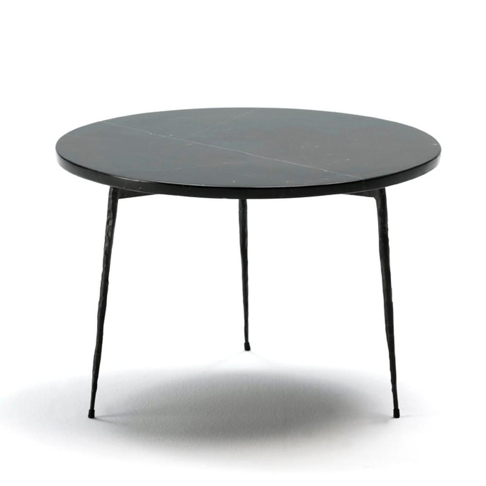 Čierny odkladací stolík s mramorovou doskou Thai Natura Lauke, ⌀50 cm