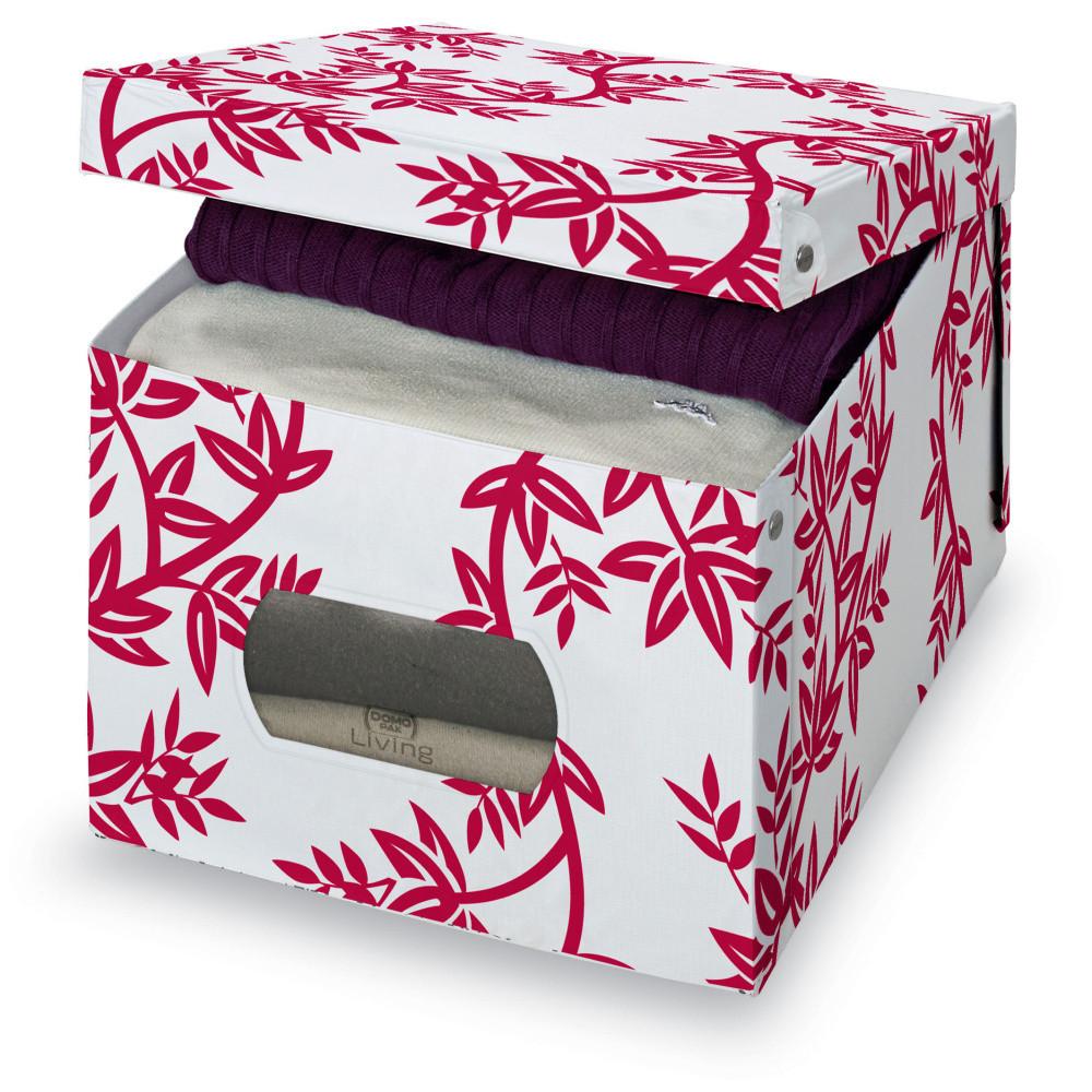 Červeno-biely úložný box Domopak Living, veľ. XL