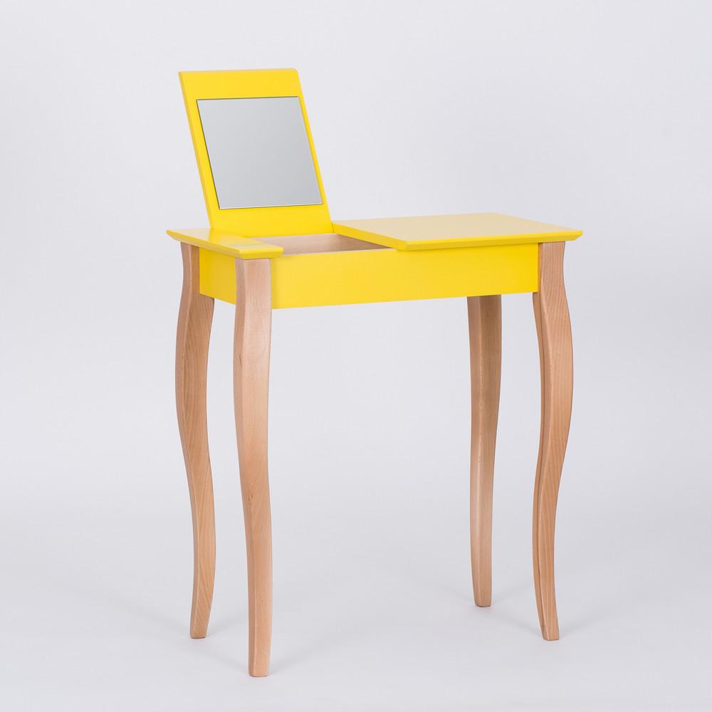 Žltý toaletný stolík sozrkadlom Ragaba Dressing Table,dĺžka65cm