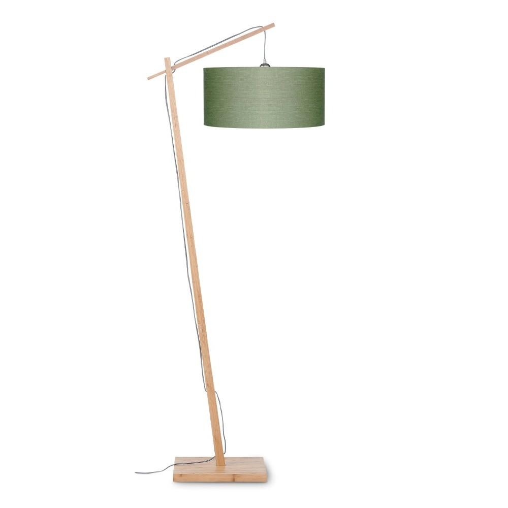 Stojacia lampa so zeleným tienidlom a konštrukciou z bambusu Good&Mojo Andes
