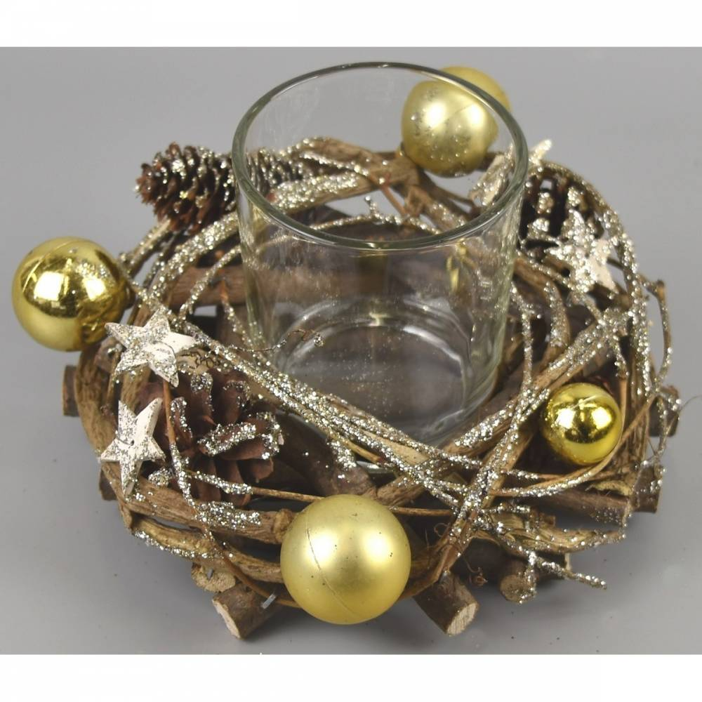 Vianočný svietnik Midland zlatá, 16 x 9 cm