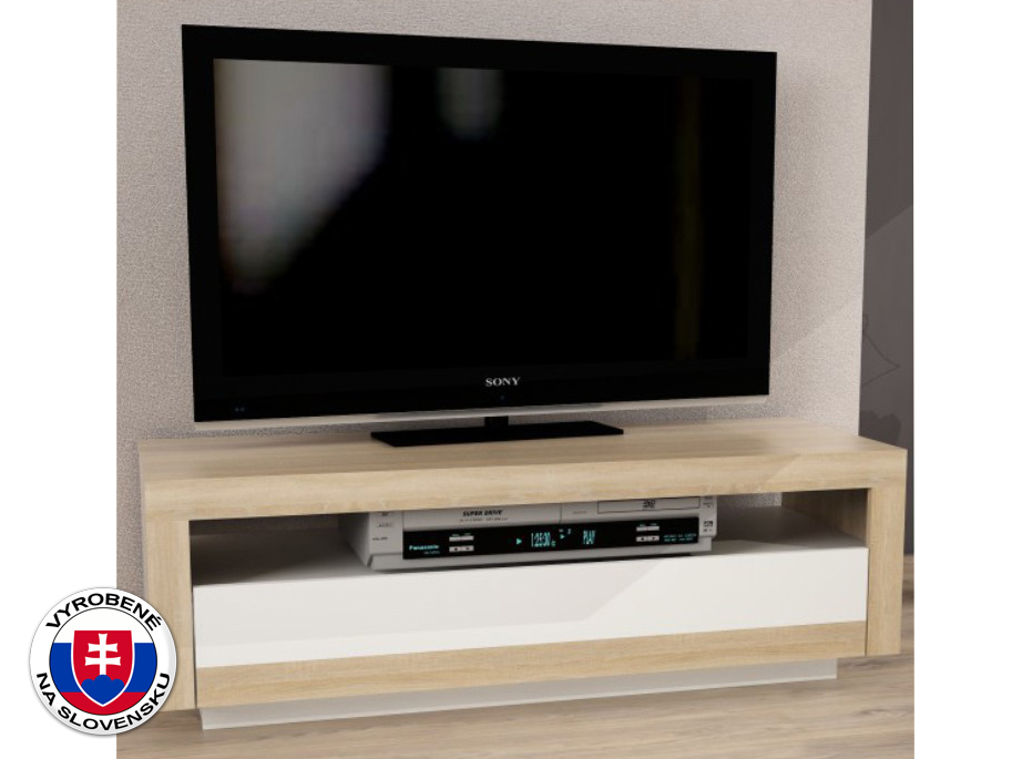 TV stolík/skrinka Agnes (dub sonoma + biela)