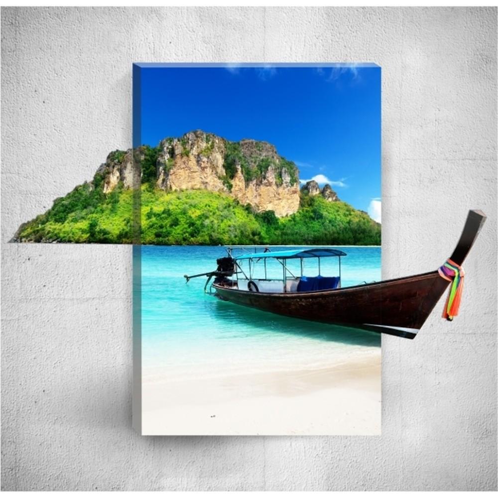 Nástenný 3D obraz Mosticx Tropical Boat, 40×60 cm