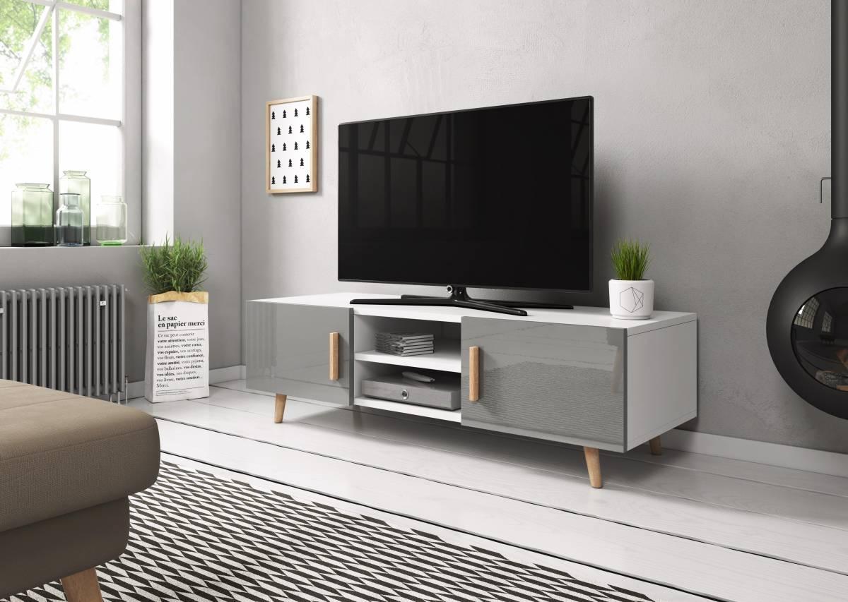 TV stolík/skrinka Sweden 2 (sivý lesk + biela matná)