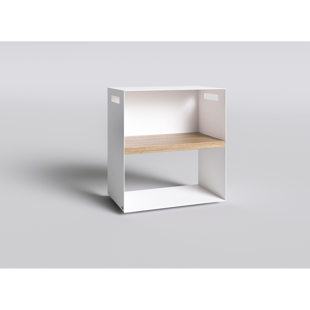 Biely nočný stolík s doskou z dubového dreva Take Me HOME, 50×30cm