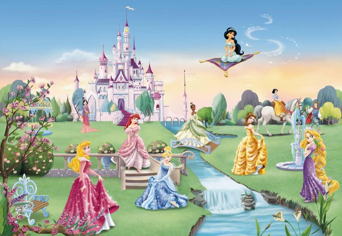 Fototapeta DISNEY 414 8-dielna Princezné s hradom 254x368 cm