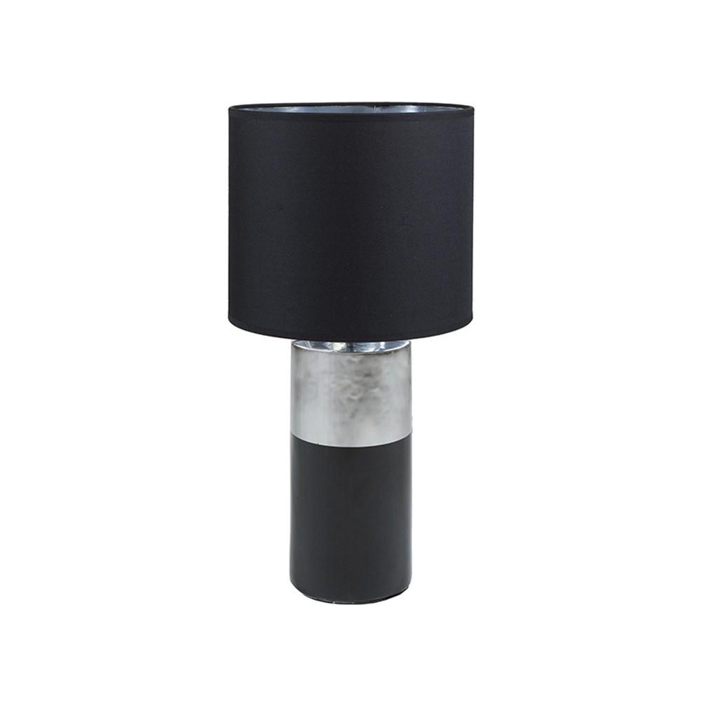 Čierna stolová lampa so základňou v striebornej farbe Santiago Pons Reba, ⌀ 30 cm