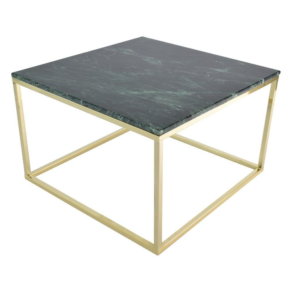 Konferenčný stolík s podnožou v zlatej farbe a zelenou mramorovou doskou RGE Accent