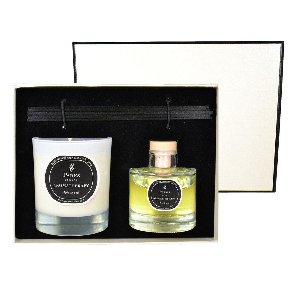 Darčeková sada sviečky a difuzéra Aromatherapy, vôňa Parks Original