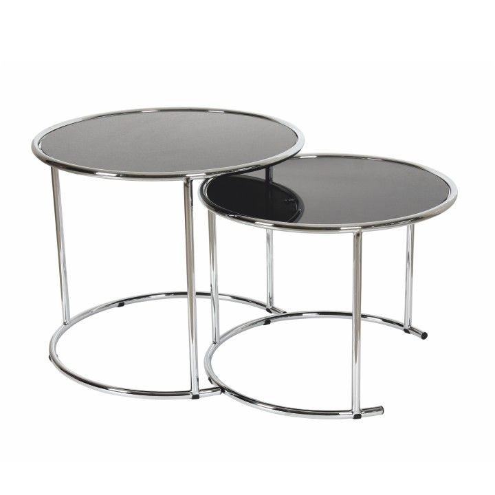 Konferenčný stolík, chróm/čierne sklo, MANUEL