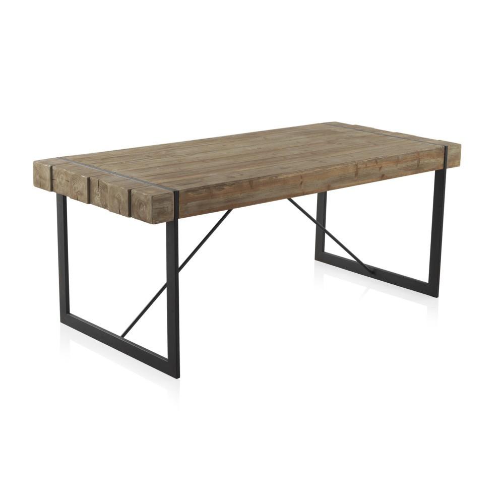 Drevený jedálenský stôl s kovovými nohami Geese Robust, 200 x 90 cm