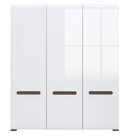 Šatníková skriňa AZTECA - SZF3D   Farba: Biela/biely vysoký lesk