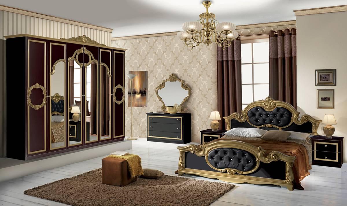 Bighome - Spálňa BAROK NERO - zlatá, čierna