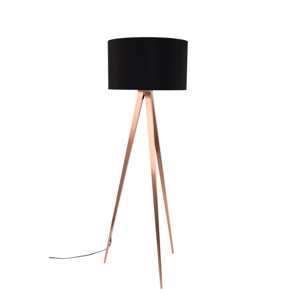 Medeno-čierna stojacia lampa Zuiver Tripod