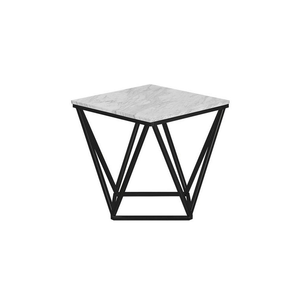 Čierny odkladací stolík s bielou doskou Monobeli Marble