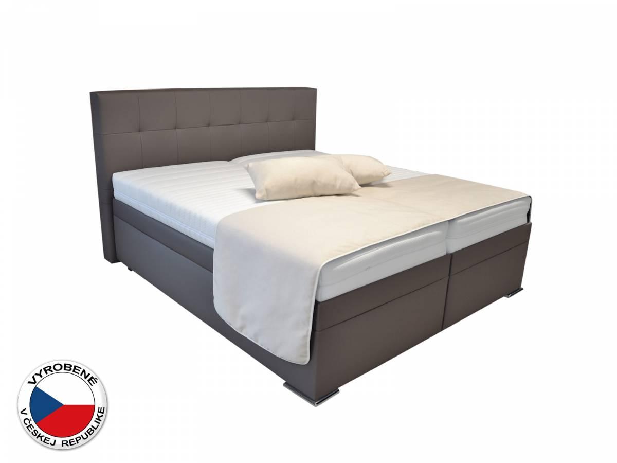 Manželská posteľ Boxspring 160 cm Blanár Rumba (hnedá) (s roštom a matracmi)