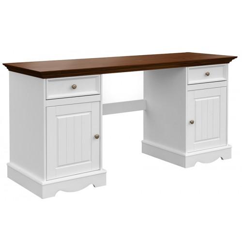 Biely nábytok Písací stôl Belluno Elegante, dekor biela-orech, masív, borovica