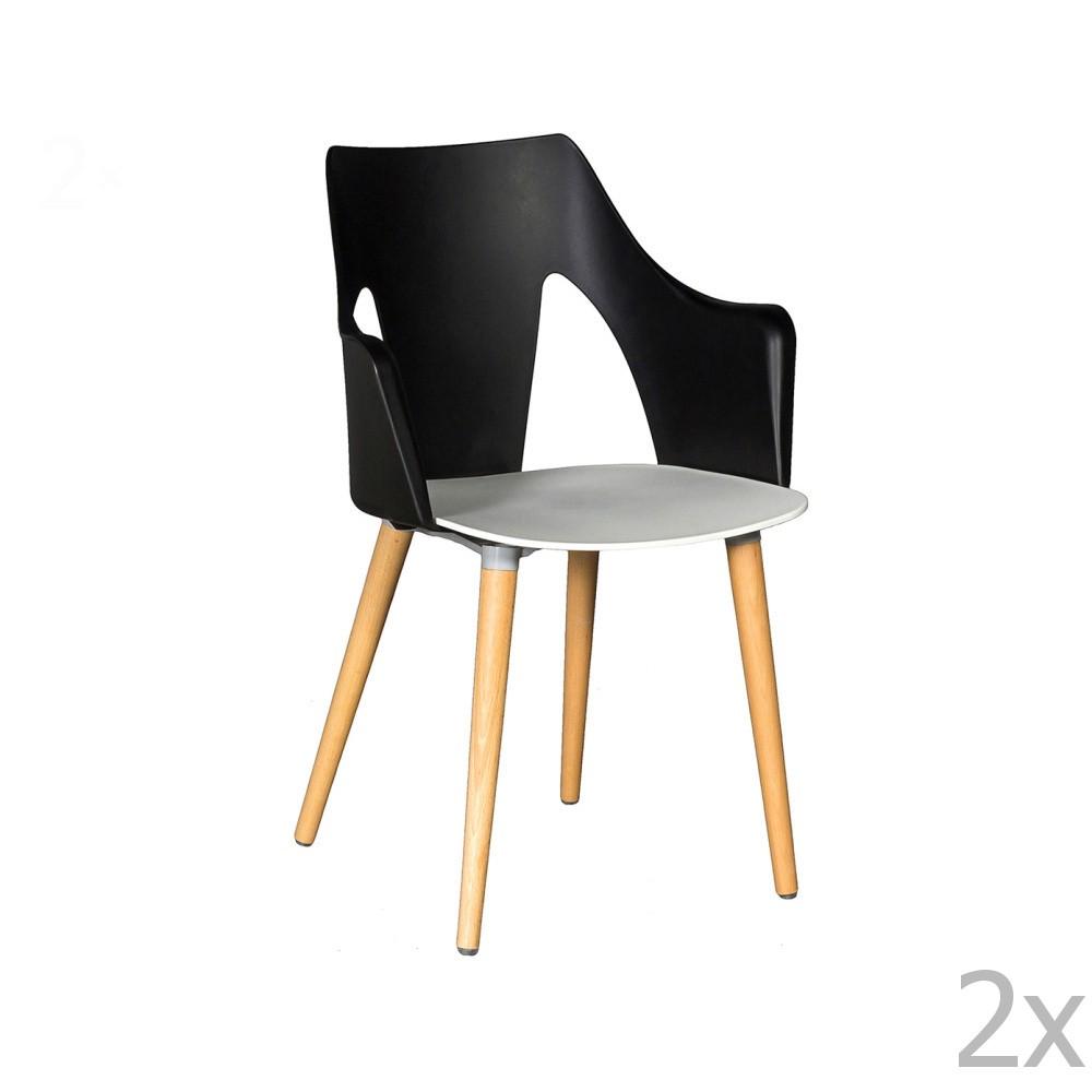 Sada 2 čierno-bielych stoličiek Crido Consulting Leggy
