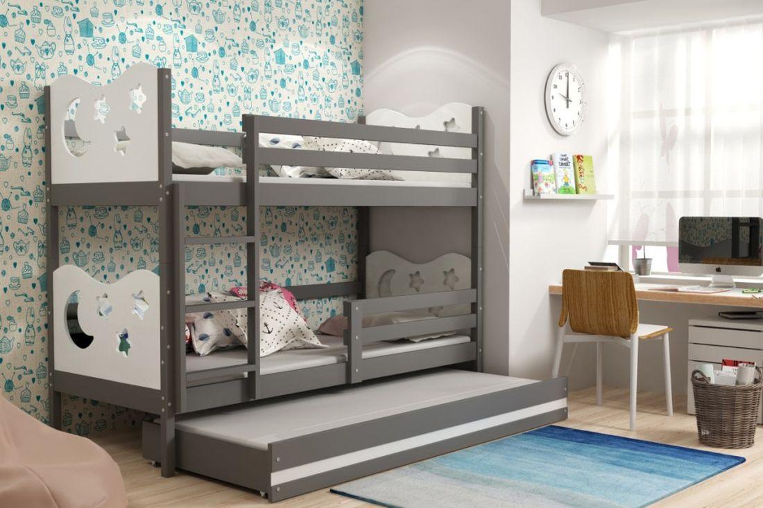 Poschodová posteľ KAMIL 3 + matrac + rošt ZADARMO, 90x200, grafit/biela