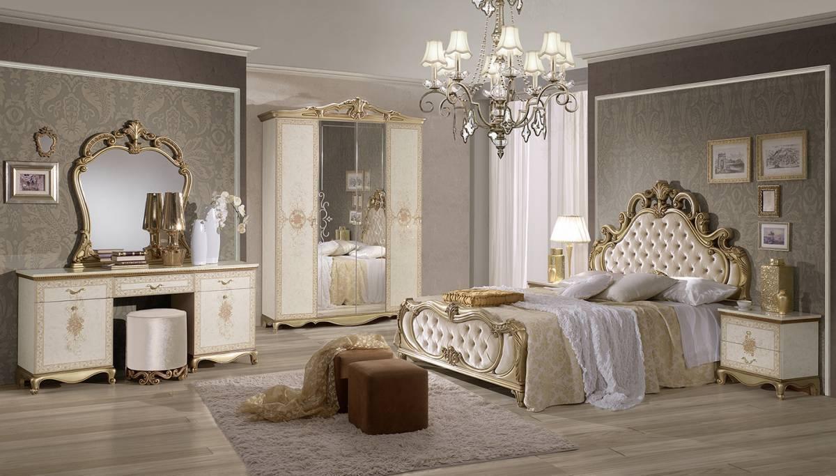 Spálňa TATJONA - zlatá, krémová