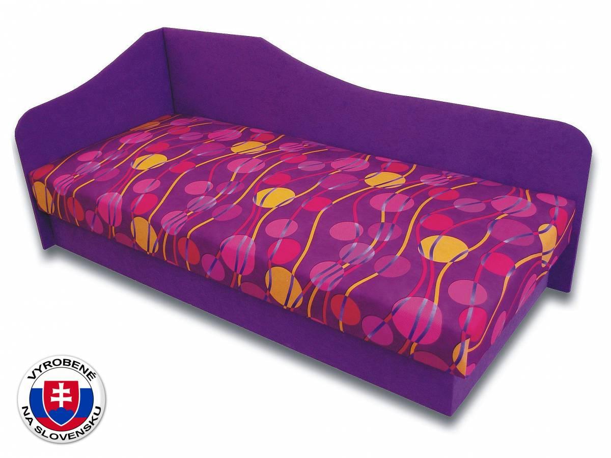 Jednolôžková posteľ (váľanda) 80 cm Lux 87 (Fialová 49 + Ikarus 43) (L)