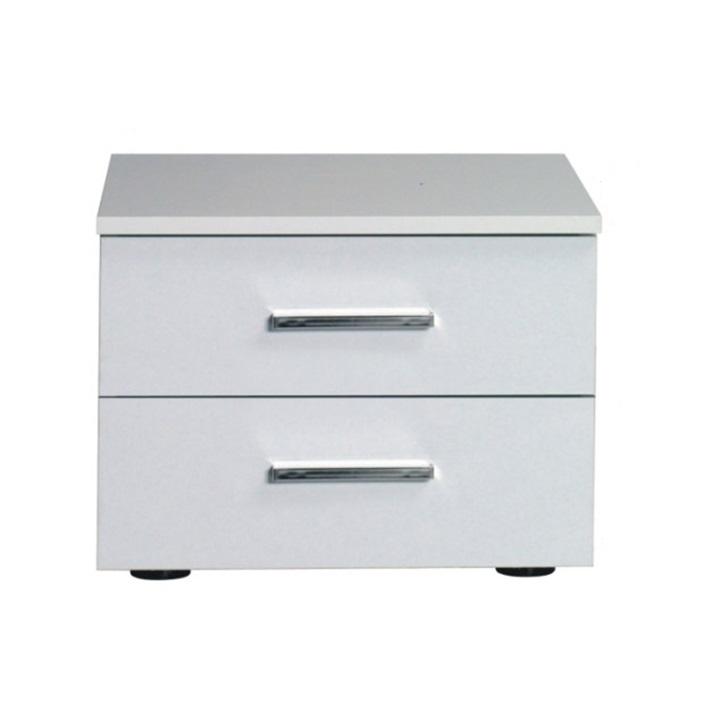 TEMPO KONDELA Nočný stolík, 2 kusy, biela/vysoký biely lesk HG, ASIENA