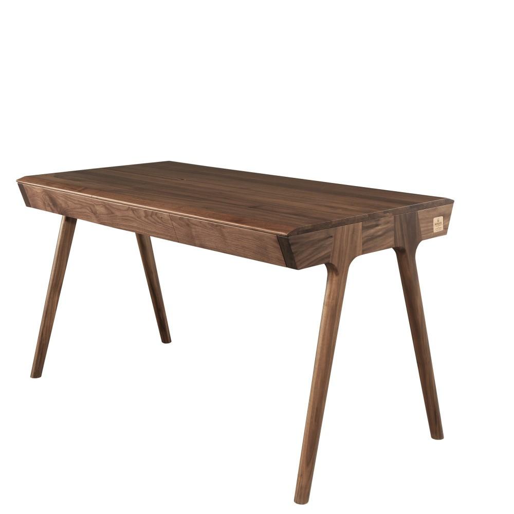 Pracovný stôl z orechového dreva s úložným priestorom Wewood - Portugues Joinery Metis