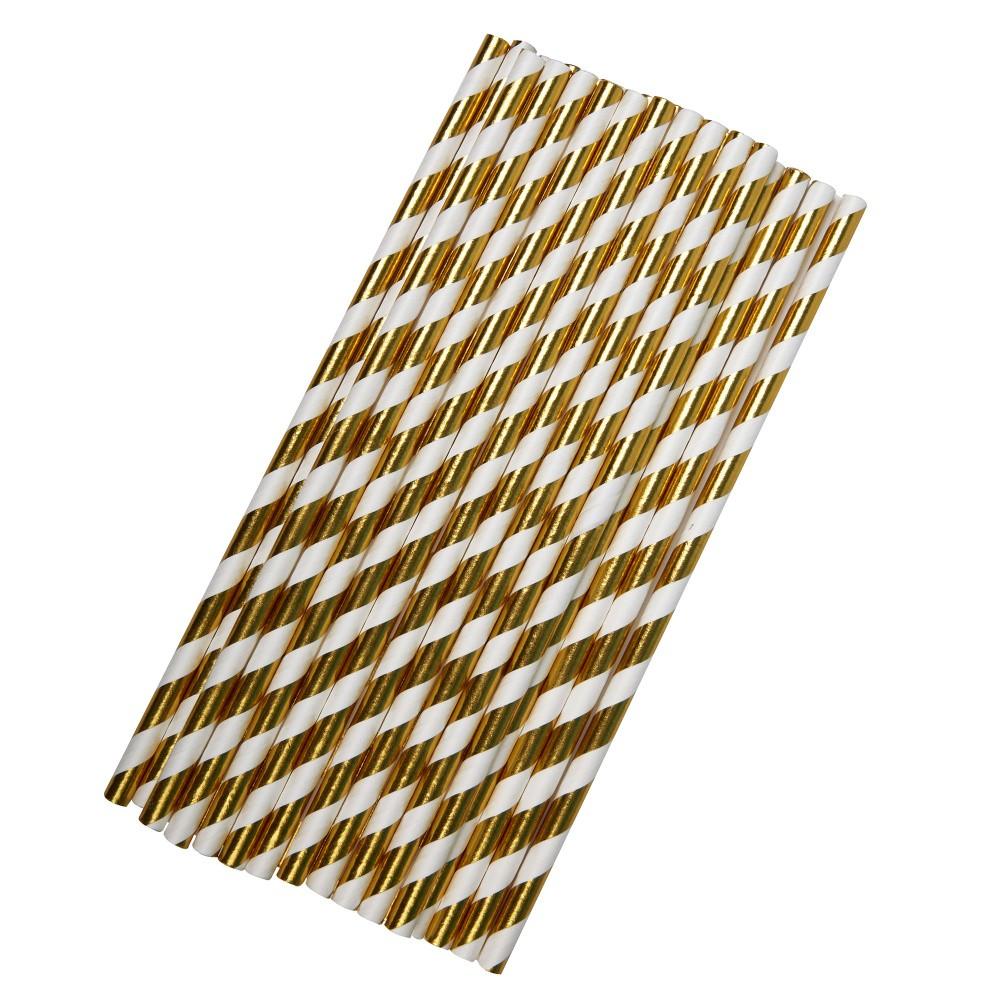 Sada 25 papierových slamiek v bielo-zlatej   kombinácii Neviti Party