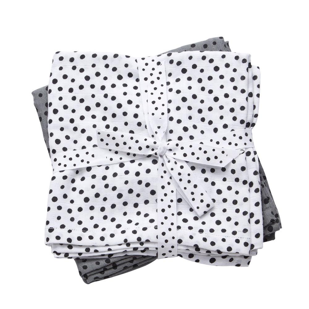 Sada 2 bílé a sivé mušelínové plenky Done By Deer Happy Dots