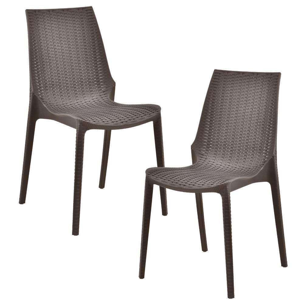 [casa.pro]® Sada záhradných stoličiek - 2 ks - 89 x 44 x 55,5 cm - hnedé