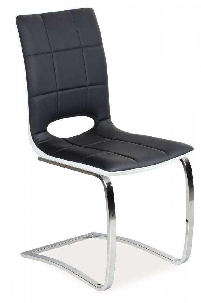 Jedálenská stolička H-431 (ekokoža čierna + biela)